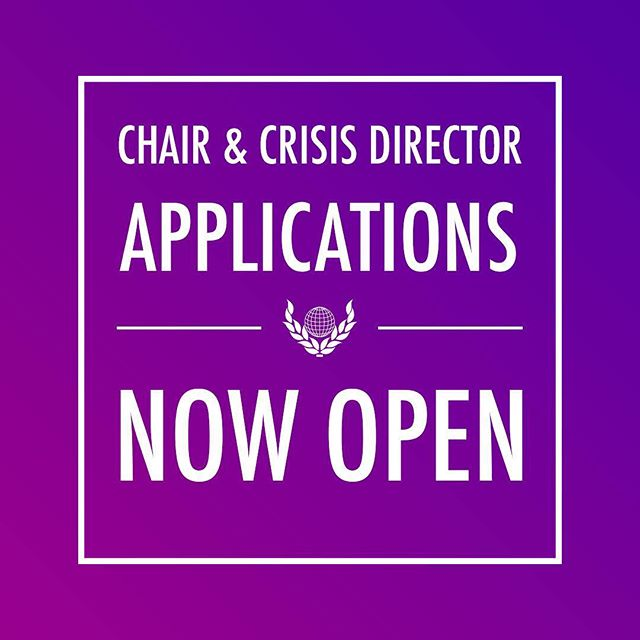 👩🏽⚖️👨🏻⚖️ 🇺🇳 Chair and Crisis Director positions in crisis committees are now open! Applications close by 11:59PM on April 1st! Any questions? Contact staffaffairs@empiremunc.org and we'll be happy to help. Application Form Link: https://goo.gl/forms/P6Z2cmmY10ohnIiA3