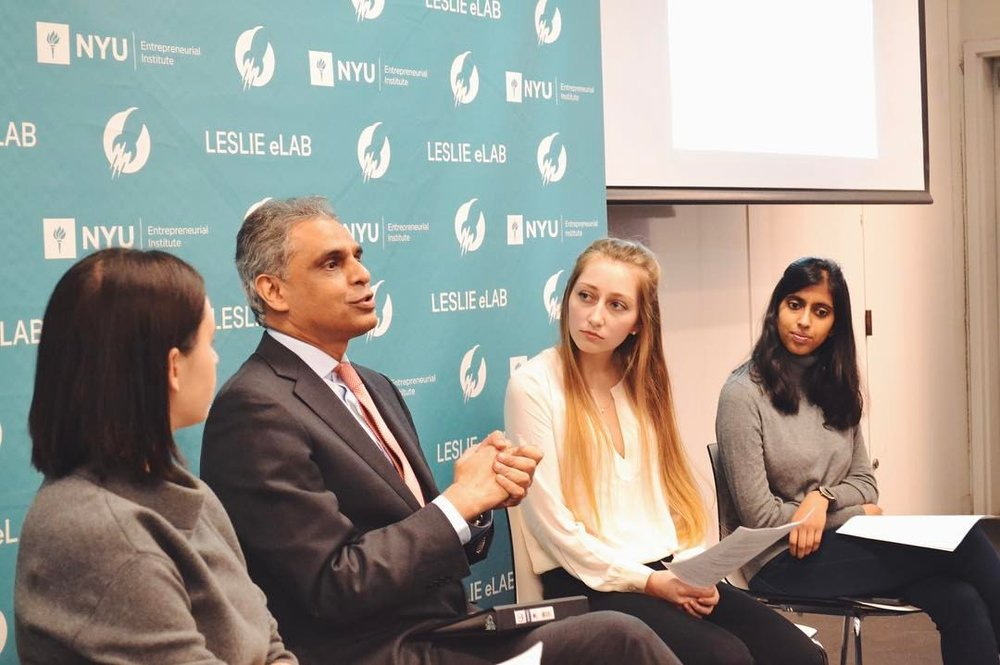 A discussion with the Permanent Representative of India to the UN: Syed Akbaruddin with students Grace Lubin, Sanjna Verma, and Victoria Gunell. in 2017.