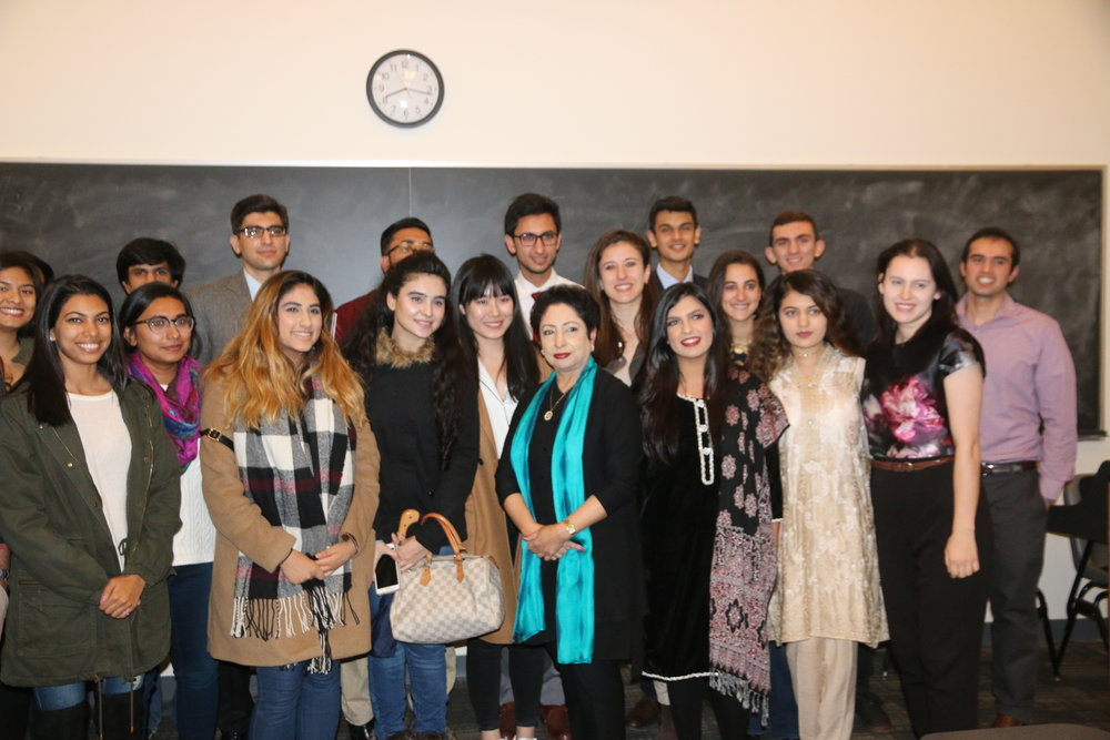 Some of the attendees to a discussion with Dr. Lodhi, Ambassador or Pakistan to the UN in 2016.
