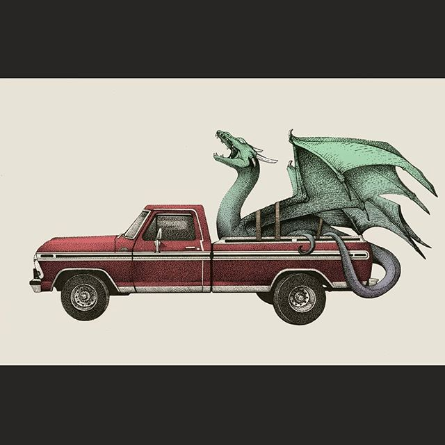 Fantasy Transport . Grandpa's truck . #illustration #dragon #artistsoninstagram #drawing #inking #blackwork #dotwork #instaart #truck #fantasy #fordranger