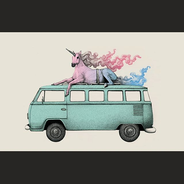 Fantasy Transport . Unicorn . #illustration #artistsoninstagram #drawing #unicorn #gay #gayart  #dotwork #instaart #van #volkswagen #adventure