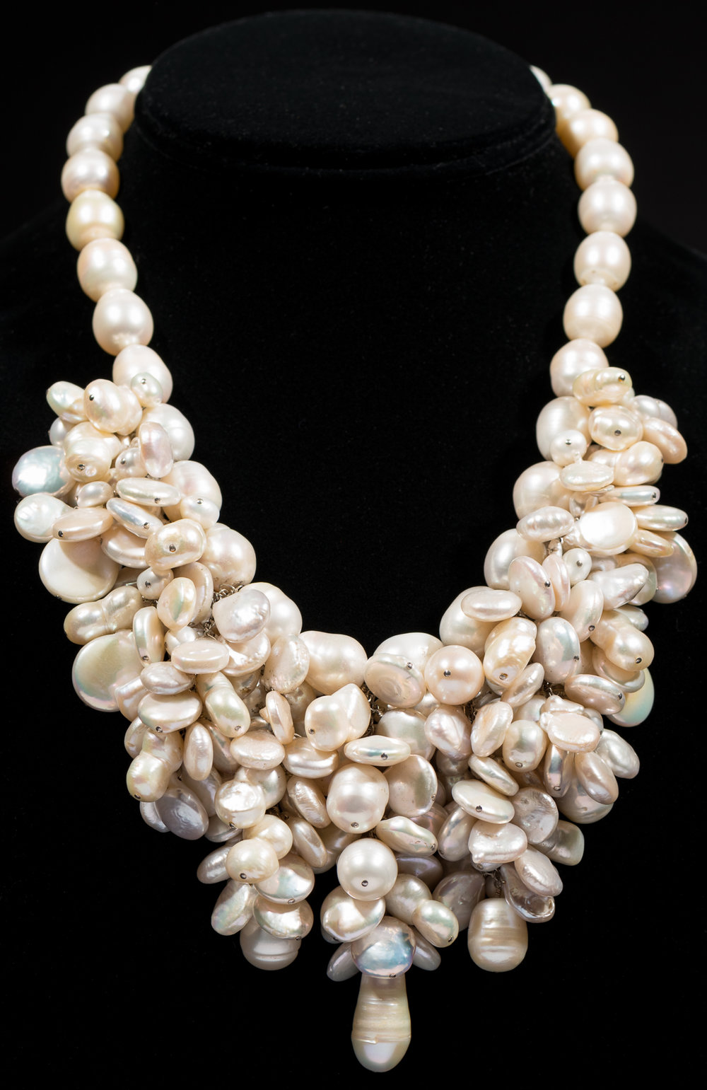 Clustered freshwater pearls with sterling silver