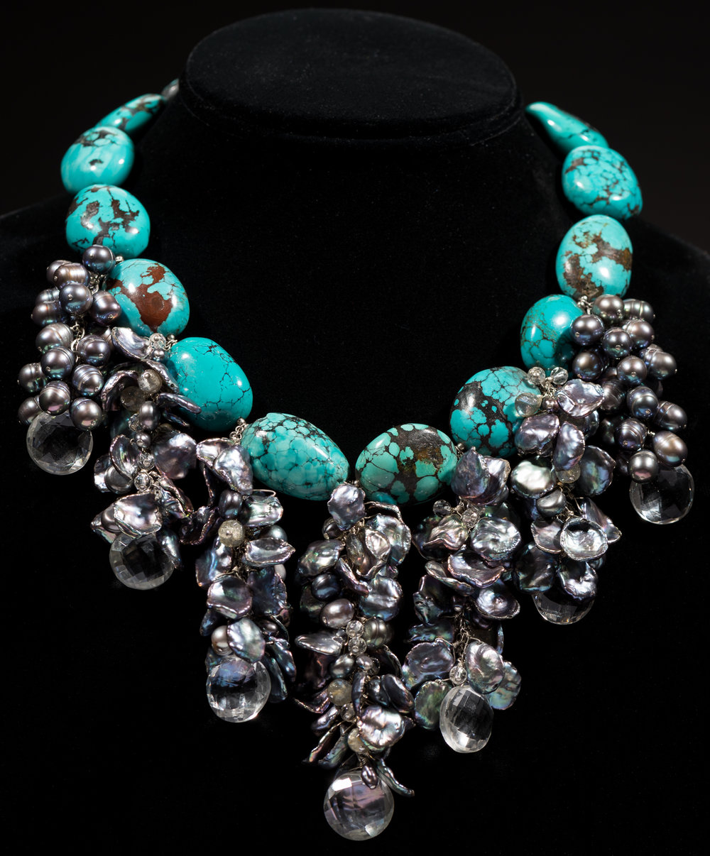 Turquoise colored beads with freshwater pearls and crystal drops
