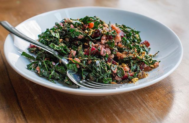 To know her, is to love her.  Farro. Kale. Beets. Pistachios. Saba.  Whether for a satisfying lunch or precursor to your dinner entrée, this salad is bound to please.