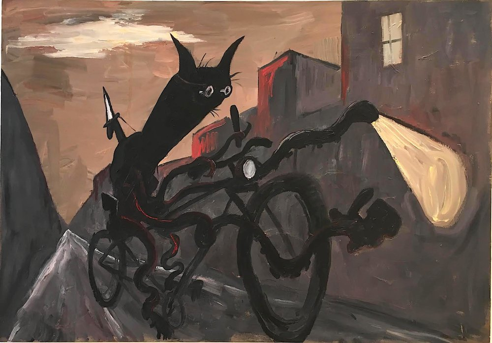 "Rick Prol, Cat on Bike, 2002, 42"" x 60"", Oil on canvas."