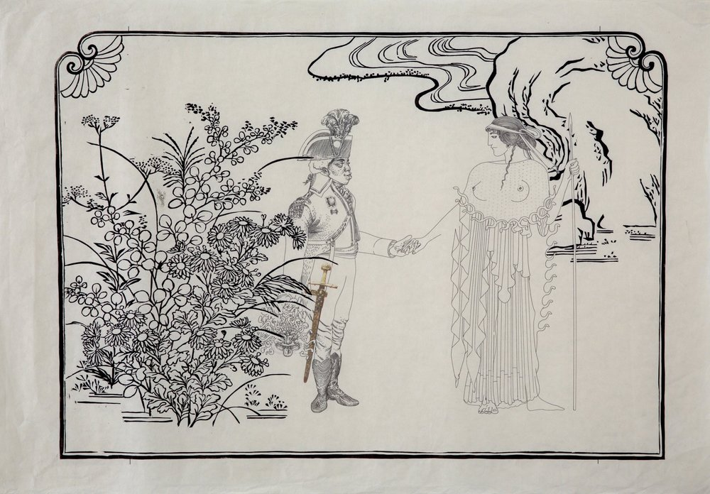 Ernest A. Bryant III,  Lovers Rendezvous Beside Flowering Grasses in 1680