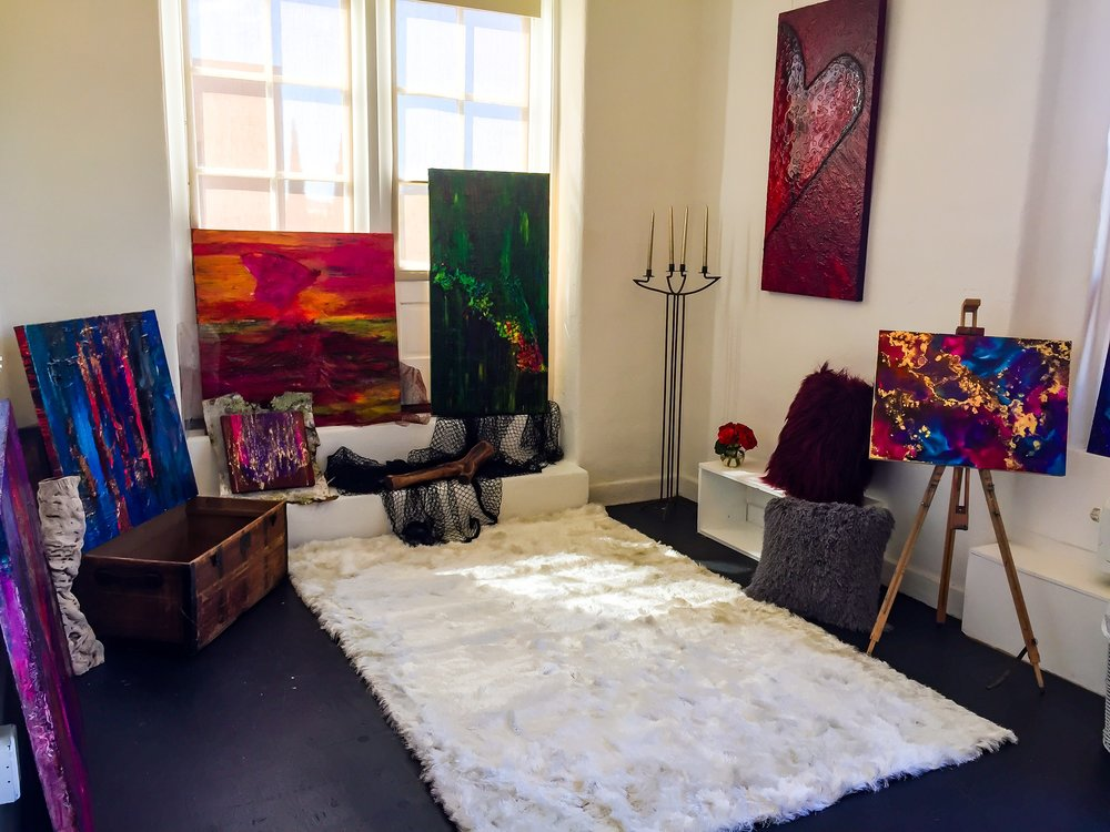 """a look back at 2018 - 2018 started with transition. i moved out of my small studio in the Space 4 Art community in east village where i had been creating my art for three years. i relocated to a larger space in the beautiful campus of the ARTS District Liberty Station. it was an exciting change that had many positive effects on the direction of my art. expanding visibility and creating connections with many ultra-talented individuals.2018 brought to the gallery, the innovative exhibit, """"inside out"""" featuring the art of Los Angeles fine artist Maria Elena Cruz, the incredible photography of popular San Diego photographer, Paul W. Koester, and the first solo show of metal sculptor, Jonathan Lee Bain, in """"blue collar 3d"""". it truly was an honor to have the works of these visionary artists on display in 2018. they are exciting creators to watch!along with the grand opening of Alexia Rose Art, the brightest highlight of 2018, for me, was the inaugural dinner of Palette X. Palette X was my long time dream. to see art on every level joined to extraordinary cuisine inspired by unbridled art, in an exclusive pop up dinner. there are many Palette X dinners to come in 2019- stay tuned!Alexia Rose Gallery2770 Historic Decatur Road, Suite 201San Diego, California 92106"""