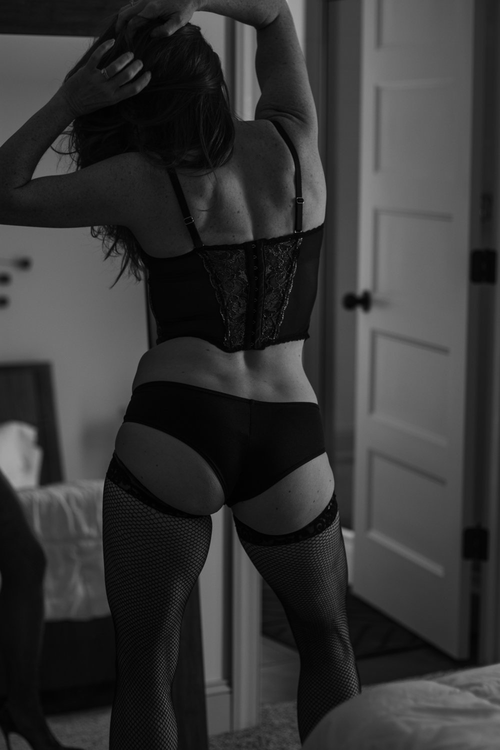 classic boudoir in mirror pose