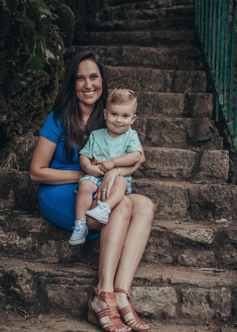 mom and son smiling at camera