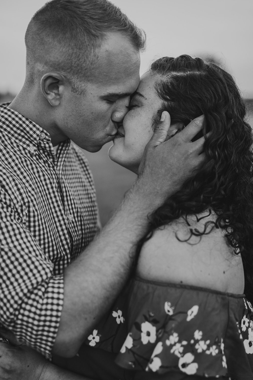 Couple passionately kissing