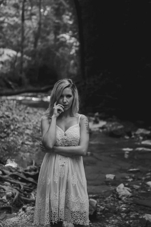 outdoor creek boudoir photo