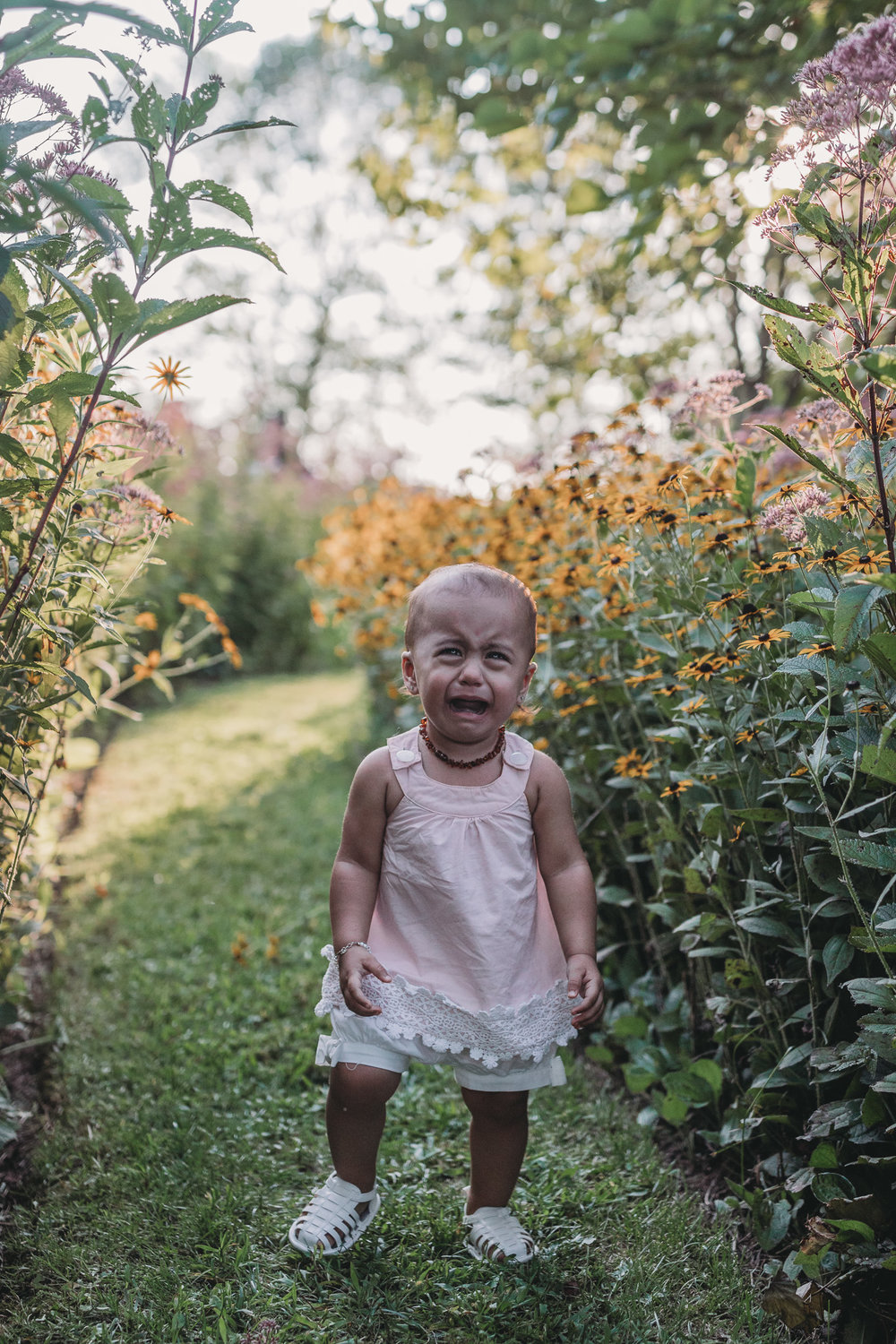 baby crying in flowers