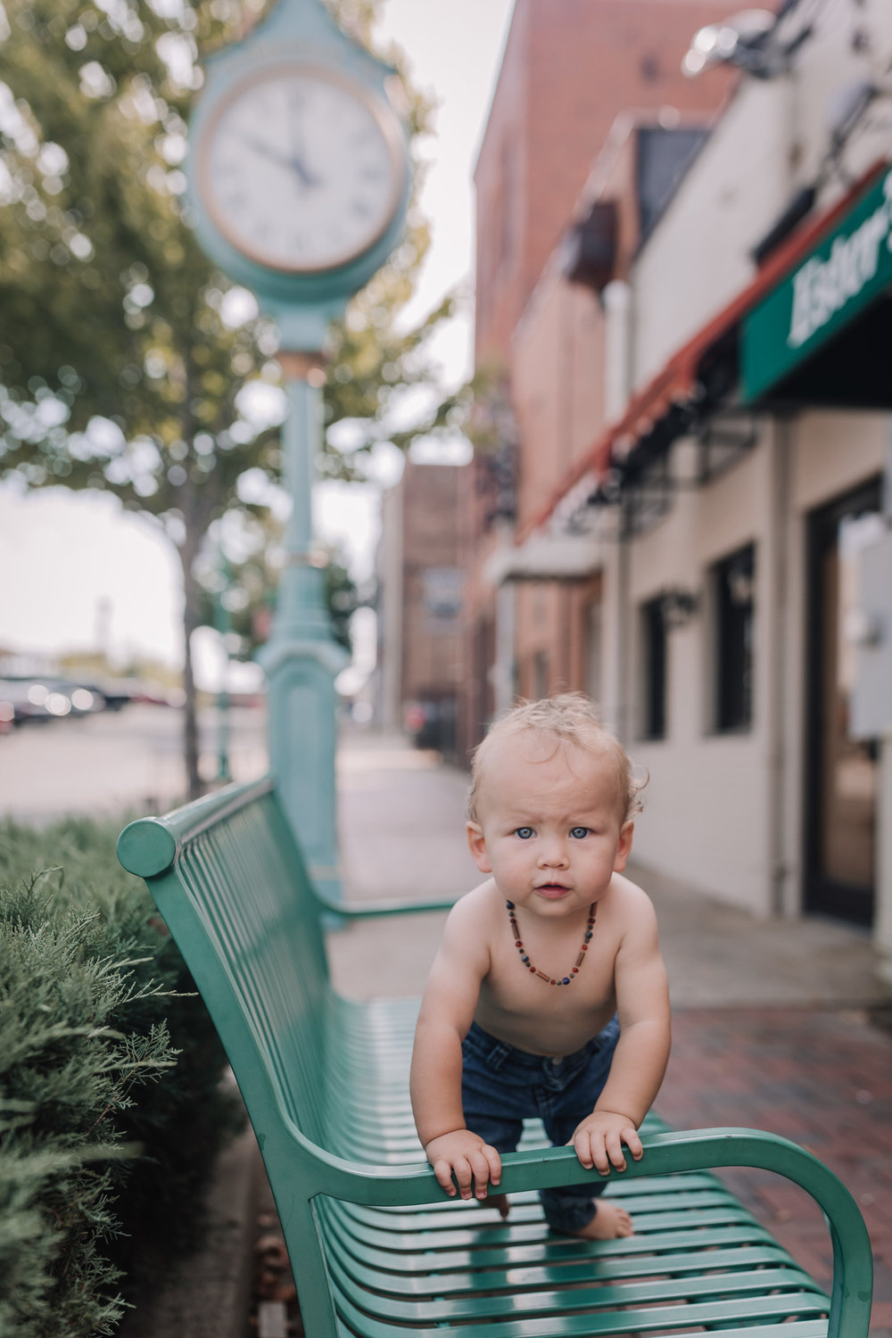baby in downtown