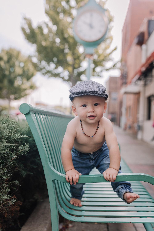 baby in fedora cap