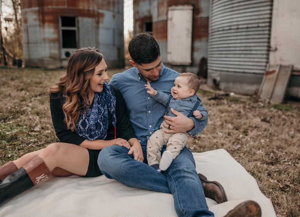 Family Photo Sitting on Blanket