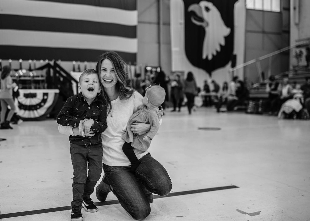 Black and White Military Homecoming Ceremony