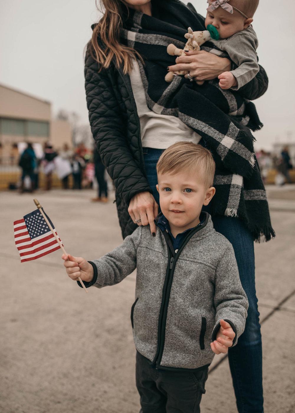 Childing Holding Flag