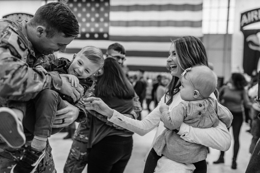 Black and White Military Family Photo