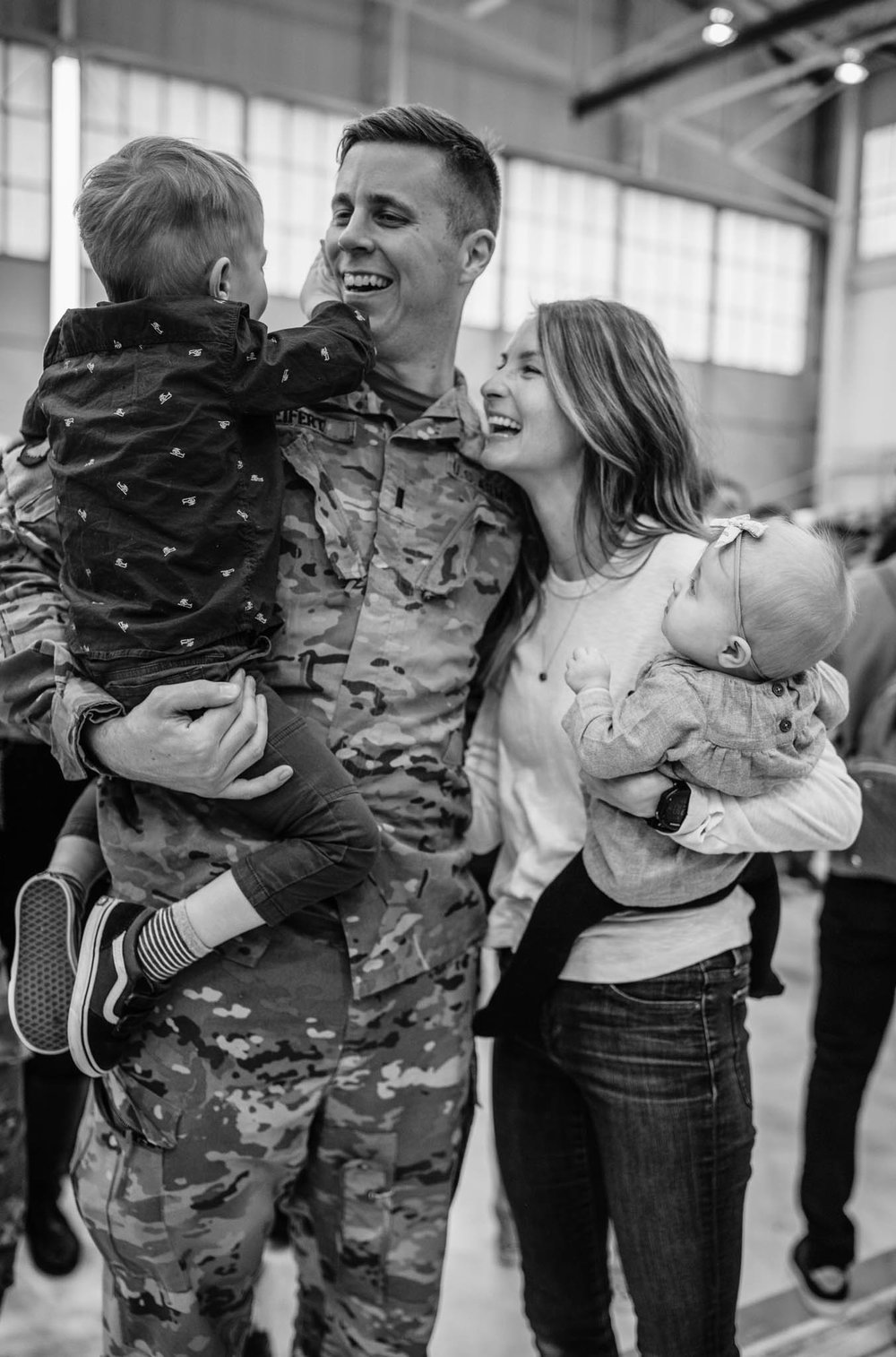 Black and White Soldier with Family
