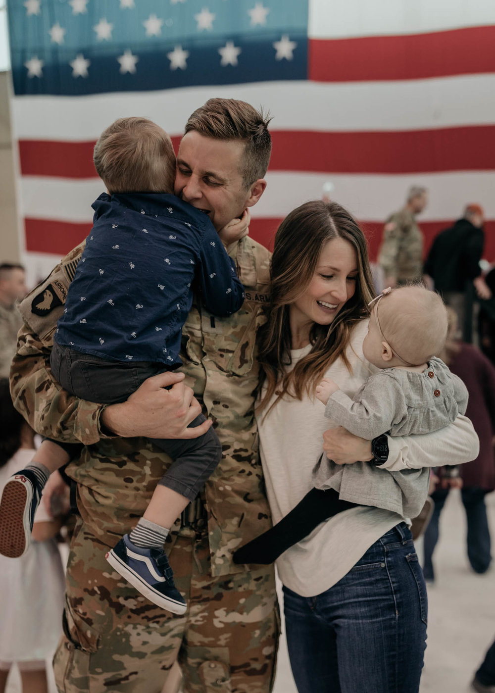 Soldier and Family during Homecoming Ceremony