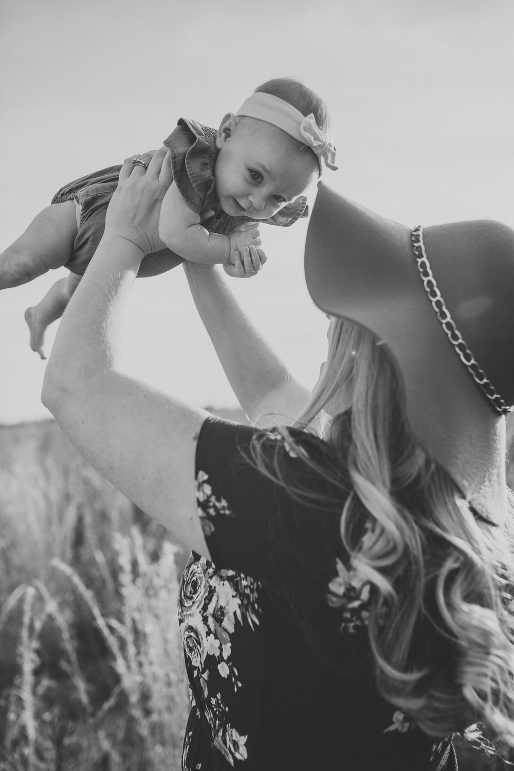Black and White Military Wife with Baby