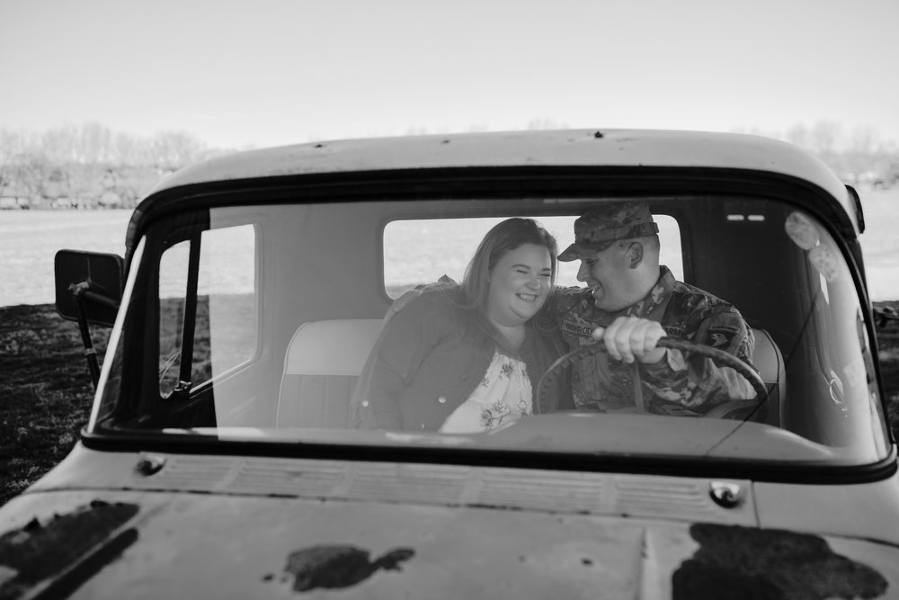 Black and White Photo Couple in Truck