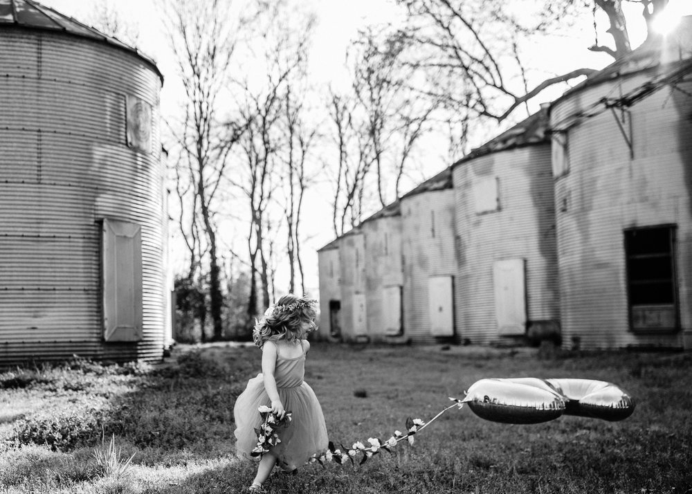 Black and White Little Girl Playing