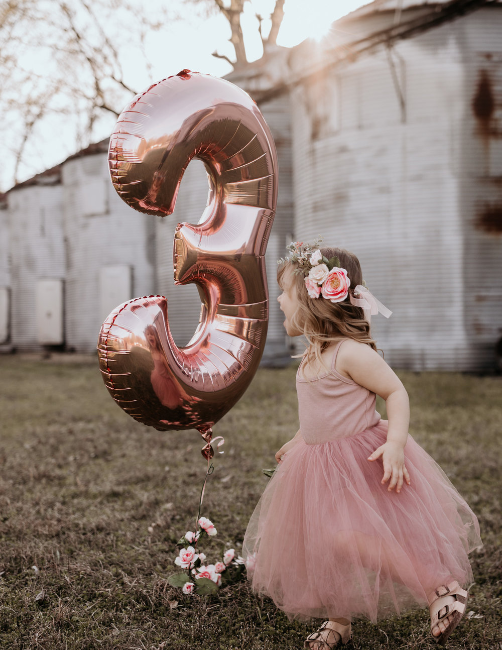 Young Girl with Three Balloon