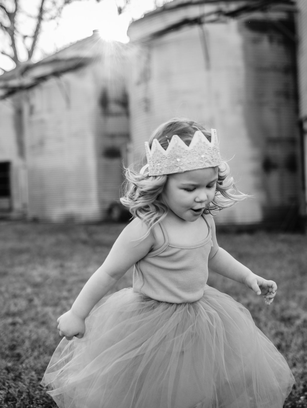 Black and White Young Girl in Crown