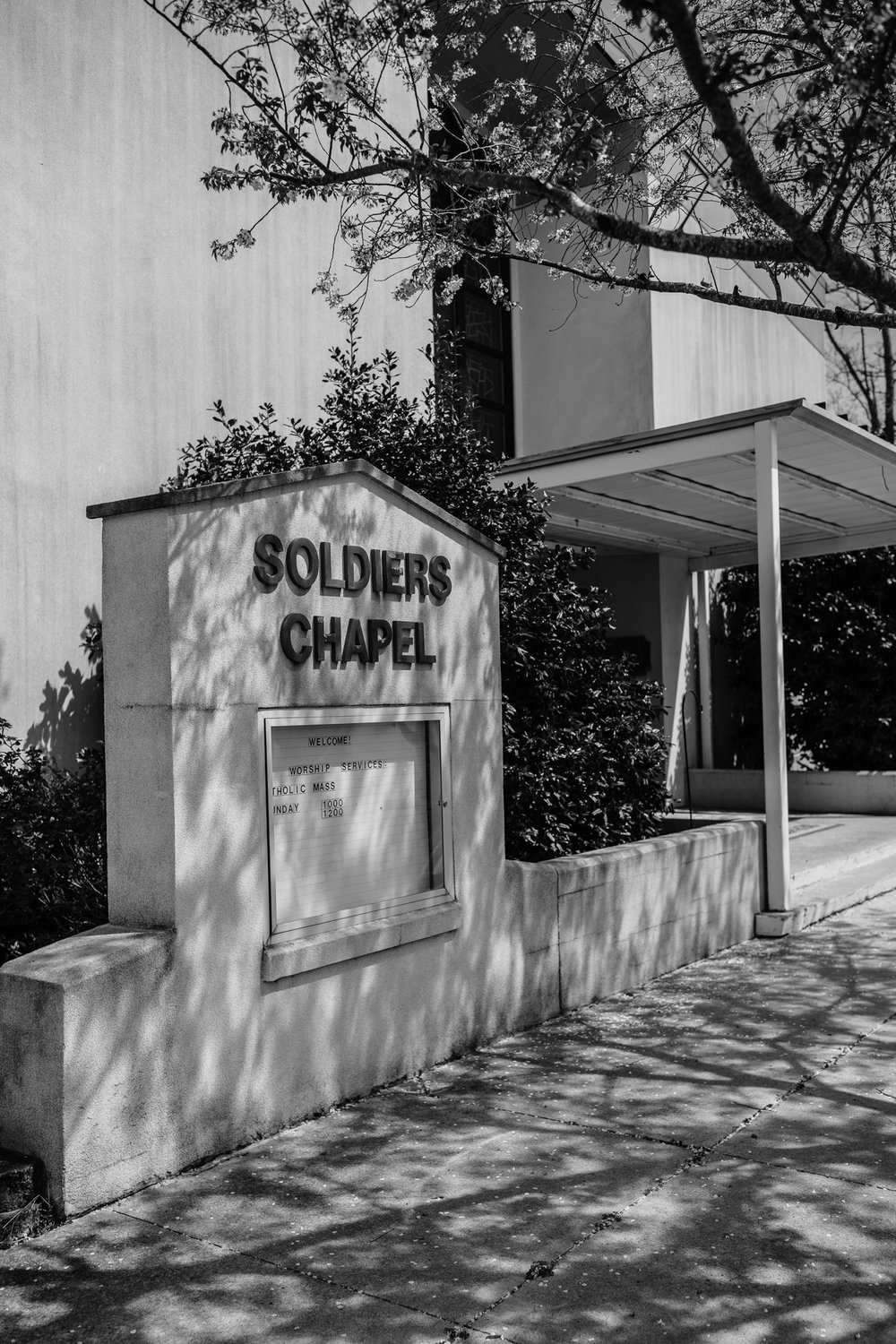 Black and White Photo Outside of Church
