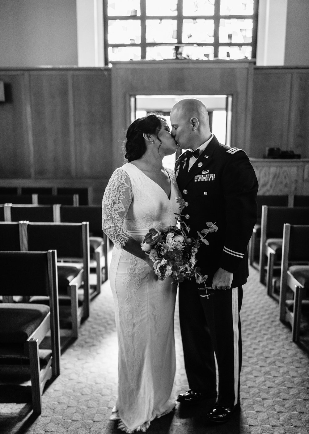 Black and White Photo Couple Kissing