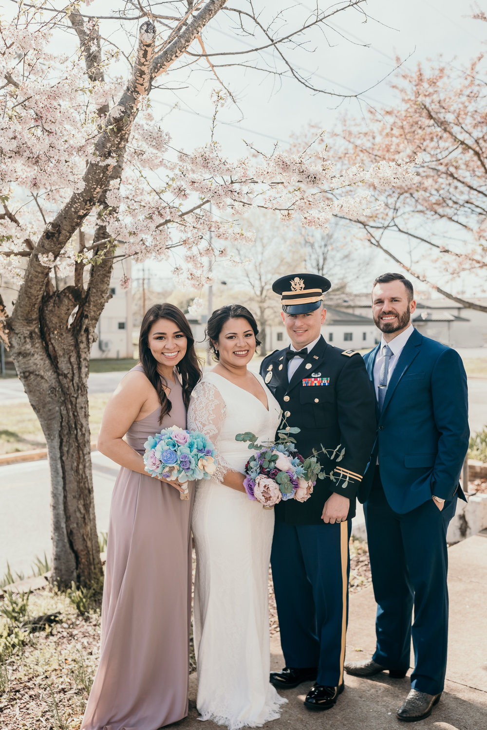Military Wedding Party Standing Outside