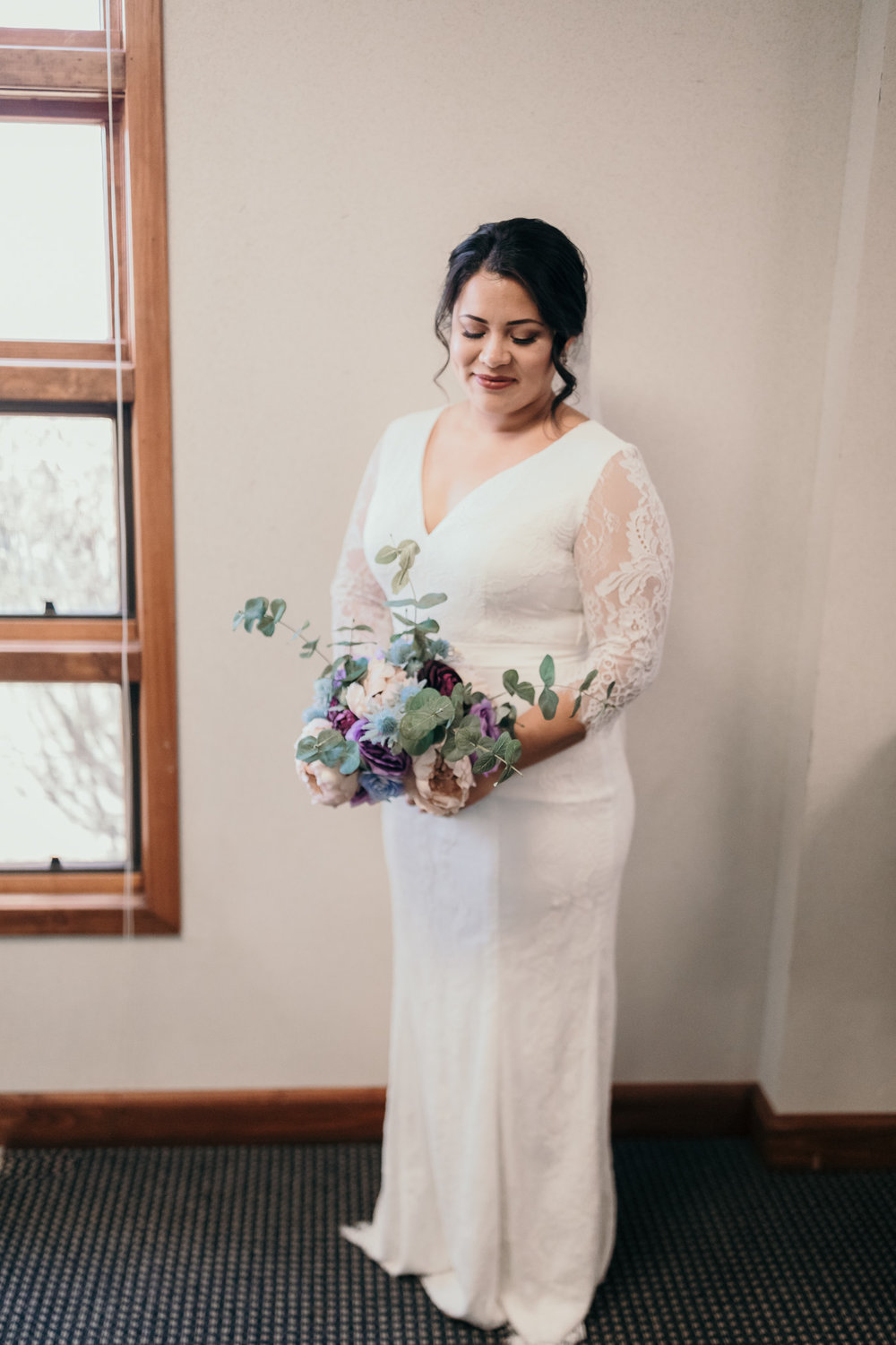Bride Standing in Church on Fort Campbell