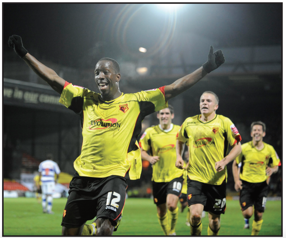 Doyley celebrates his first Watford goal. Photographs by Alan Cozzi