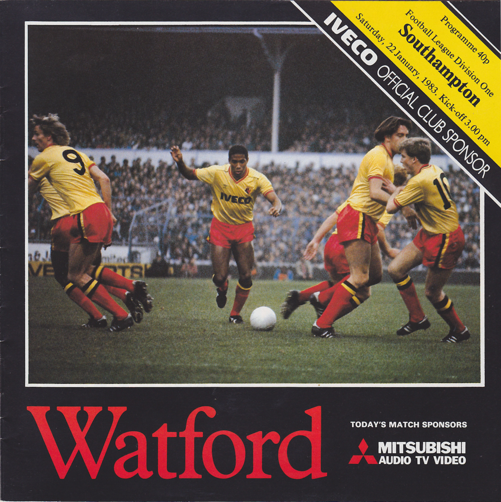 The programme for the Southampton game featured a photo of John Barnes taking the famous 'exploding free-kick' at White Hart Lane.