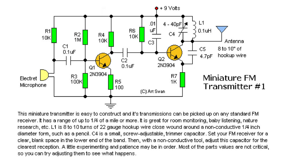 FM transmitter circuit schematic