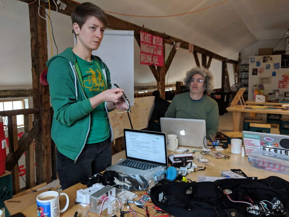 Becky describing her experience working with the Bela microcontroller and showing her textile breakout for Bela.