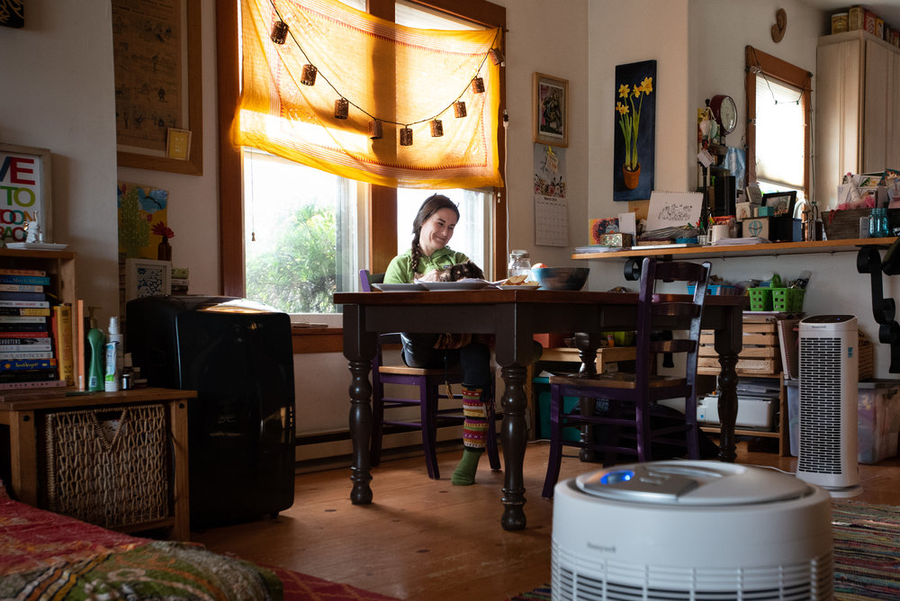 Tiffany Woodside, a long-time resident of The Dalles, Ore., runs multiple air purifiers in her home 24 hours a day in an effort to mitigate the health impacts of creosote on her and her family.