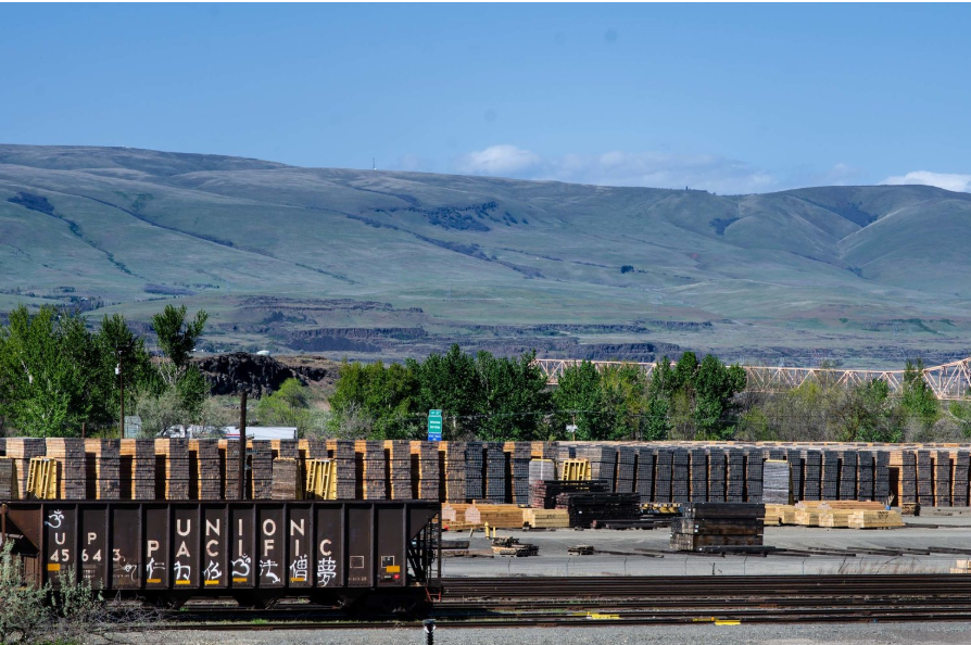 Union Pacific Railroad purchases railroad ties from AmeriTies West, LLC in The Dalles, Ore. Wooden railroad ties are stacked in the yard awaiting processing. Ties are soaked in creosote, a toxic preservative, before being installed in the railroad track.