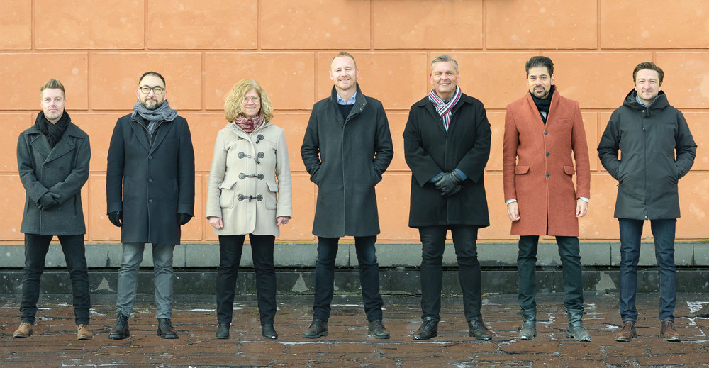 Learnster kärnteam (från vänster till höger): Daniel Eek, Aaron Castaneda,Anette Andersson,Mikael Larsson, Peter Holm, Peter Hedström och Michael Smietana.