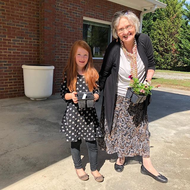 Planting flowers after church.