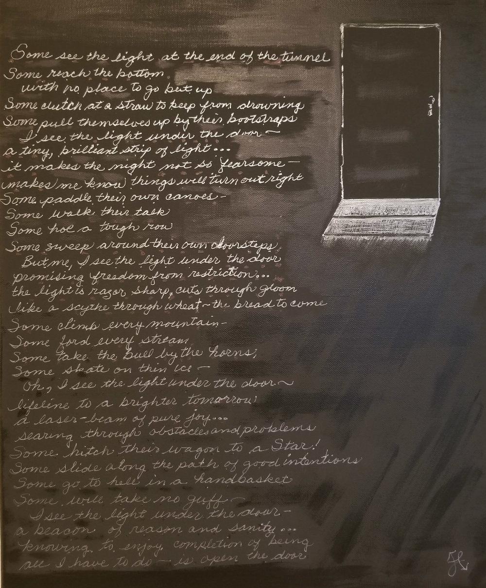 The Art Under the Door , 20x16, mixed media by Jilaine Callison