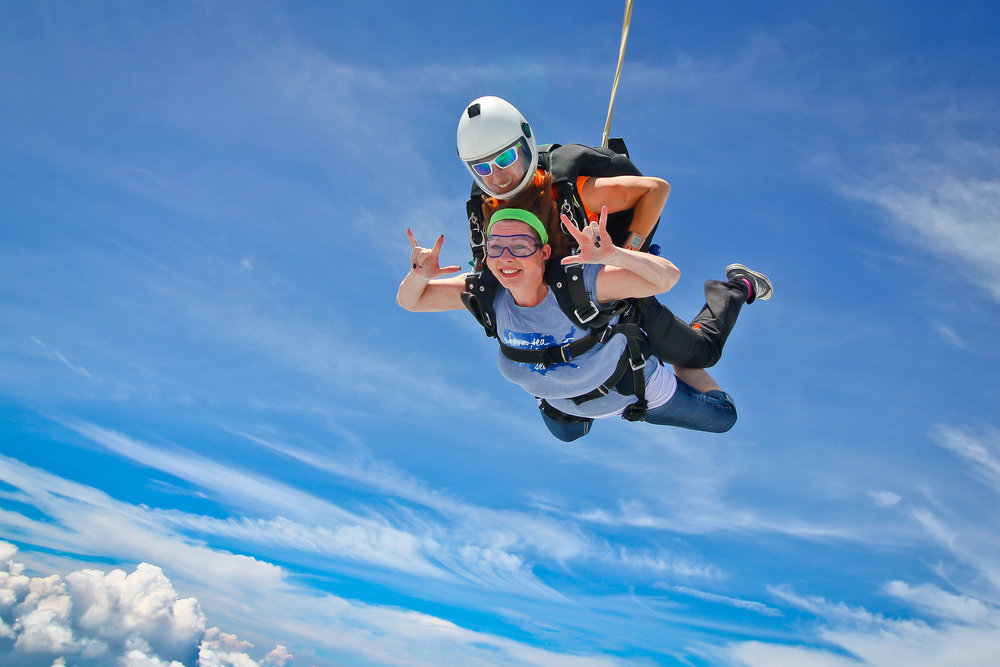 Blue skies, tandem skydive
