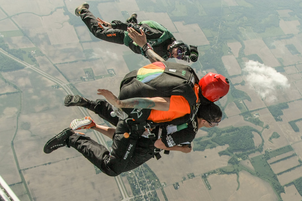 Skydive videographer flies with you.