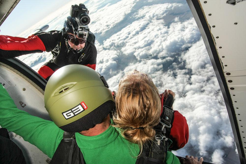 Skydive videographer shoots exit