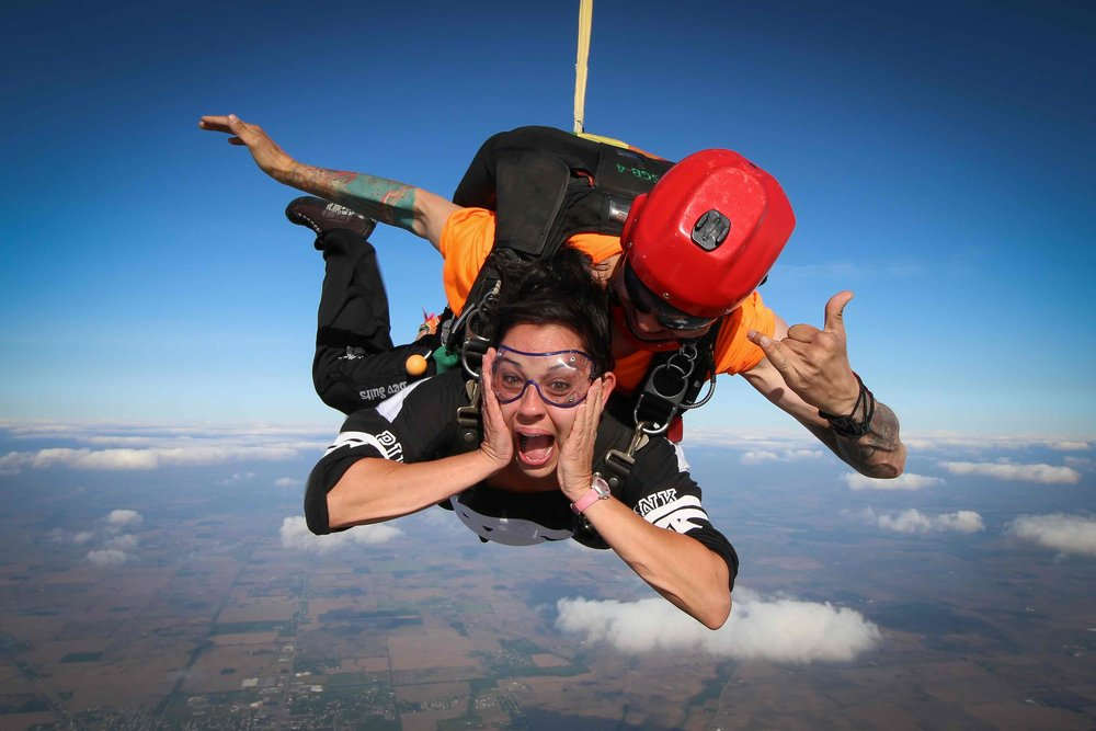 Give your skydive videographer your scared face