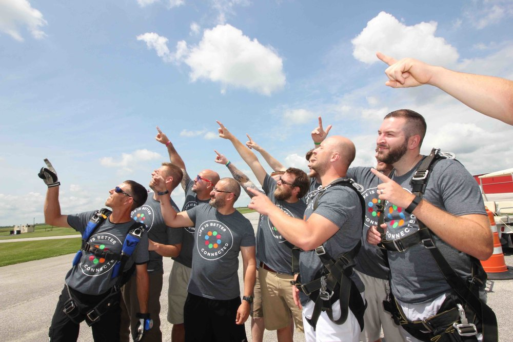 Skydiving group dresses for the occasion
