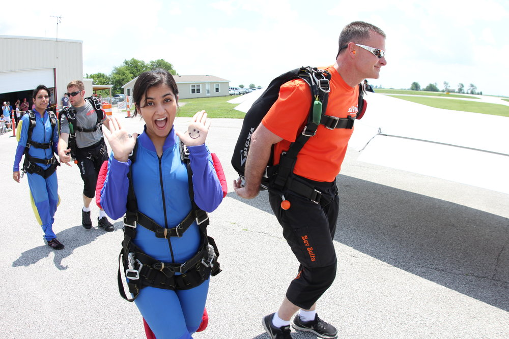 You and your skydive instructor will board the plane together