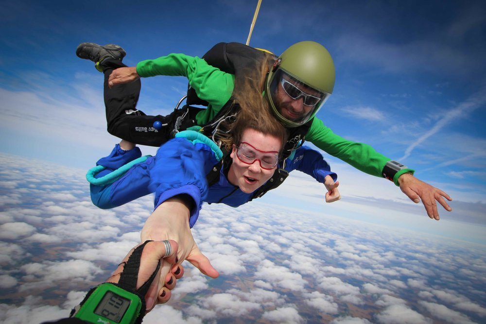 Hang on and let your skydive videographer take you for a spin