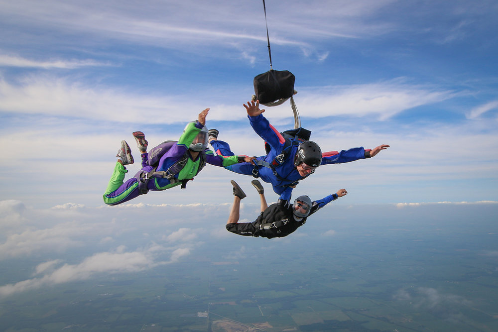 An AFF student learns to skydive